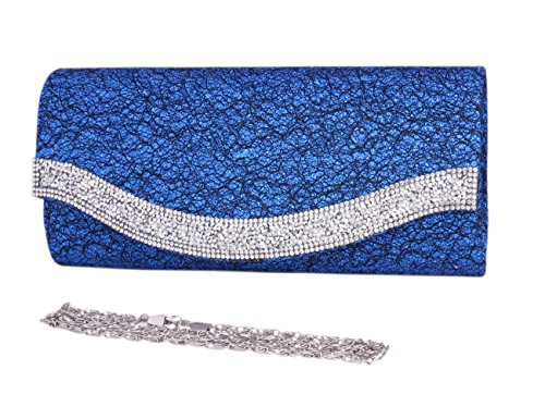 Day of Saturn Fashion Damen Glänzend Strass Abendtasche Mit Pailletten Blau