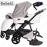 Bebebi | Modell ECO Wing | ISOFIX Basis & Autositz | 3 in 1 Kombi Kinderwagen | Luftreifen Coconut ECO Leather