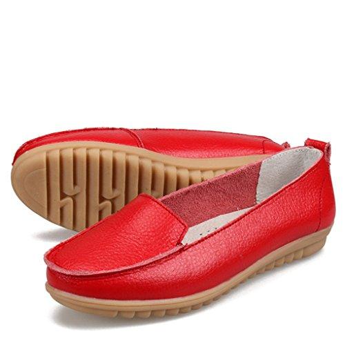 YY-Rui Manteau en cuir mignon PU en cuir féminin sur le confort confortable Casual Loafers Rouge