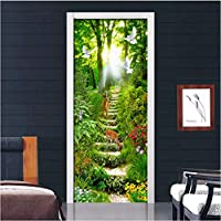 SZYUY Mural Pvc Waterproof Self Adhesive 3D Sticker Forest Path Door Landscape Painting Sticker Room Wall Paper Poster Decoration Your Home