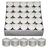 #7: Nanki Trades Long Burning Round Wax Tea Light Candles (3.7 cm x 3.7 cm x 2.5 cm, White, Set of 50)