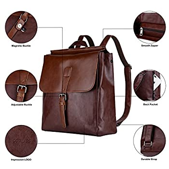 Unisex Backpack Pu Leather Rucksack College School Satchel Laptop Work Bag Travel Camping Backpack For Men Women Fits 14 Inch Macbook Ipad By Corliss (#10 Coffee) 1