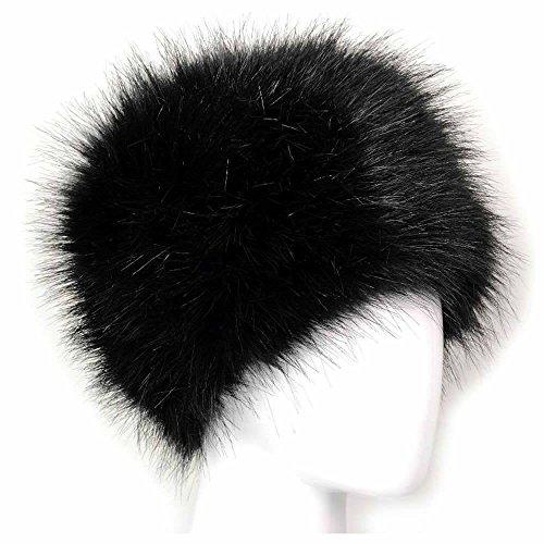 Kosaken Kostüm Hut - Künstlich Faux Pelz Kosaken Russisch Stil Winter Hut von MAXGOODS - Schwarz