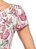 oodji Ultra Damen Kleid aus Strukturiertem Stoff mit U-Boot-Ausschnitt, Elfenbein, DE 32 / EU 34 / XXS
