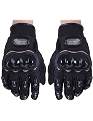 TOOGOO (R) Par Guantes Fibra Carbono PU Proteccion Negro para Moto Motocicleta Talla XXL