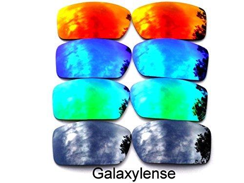 Galaxylense Ersatzgläser für Oakley Gascan schwarz & grün & blau & rot Farbe Polarisierend 4 Paare,GRATIS S & H - schwarz & grün & blau & rot, regular (Oakley Gascan Lens)