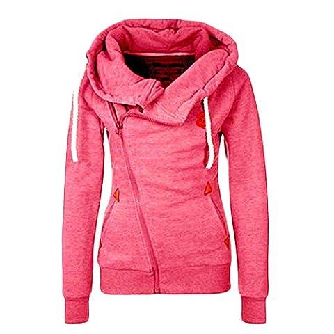 Fashion Women Hoodies Long Sleeve Slim Fit Jumper Hoodies Coat Sweatshirts Hooded (L, Hot Pink)