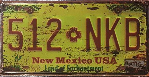 Nostalgie Blechschilder Retro Replik Route 66 USA Chevy Auto Hot Rod Elvis Nummernschild (New Mexico dark 15x30)