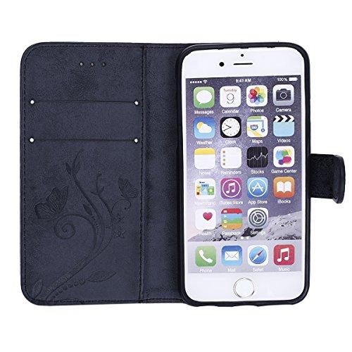 Etsue pour Apple iPhone 6 Plus,6S Plus Coque,[Papillon Fleur Pourpre] Flip Bookstyle Housse étui de Téléphone en Cuir étui pour Apple iPhone 6 Plus,6S Plus , Lanyard Strap Retro Folio Wallet élégante  Noir