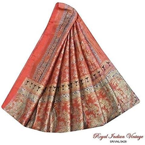 sari indio tejido artesanal de la vendimia marrón utilizan animales impresa mujeres decoración para el hogar 5YD envuelven vestido reciclado coser tela de la cortina mezcla de seda drapeado sari arte sarong
