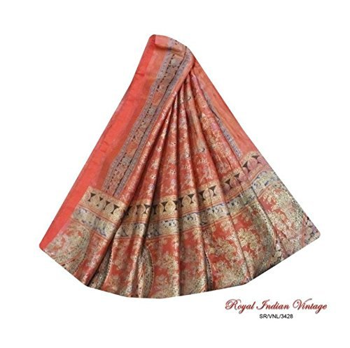 sari-indio-tejido-artesanal-de-la-vendimia-marron-utilizan-animales-impresa-mujeres-decoracion-para-