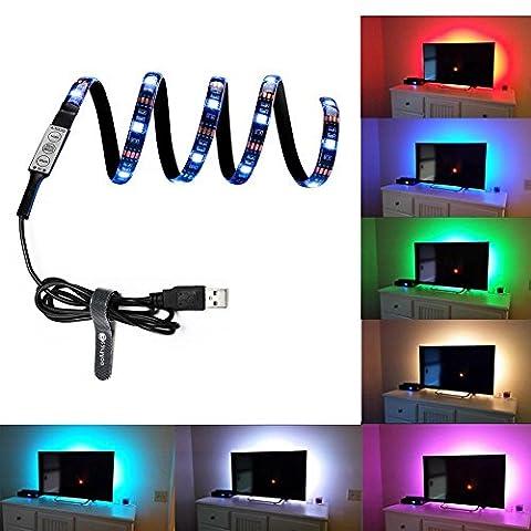 Hintergrundbeleuchtung Fernseher USB Powered LED Farbstreifen Bias-Beleuchtung für TV-Bildschirm und PC-Monitor, RGB Multi-Farbe 90 cm inkl. Fernbedienung, inkl. Farbwechsel, 90cm selbstklebend
