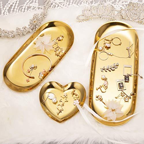 ManChDa 3 Stück Metall Aufbewahrungsbox Kosmetik Organizer Schmuck Tablett Teller Tee Tablett für Bad Schminktisch Arbeitsfläche Kommode Halter für Uhren Ohrringe Make-up Pinsel Lesebrille 1.Gold -