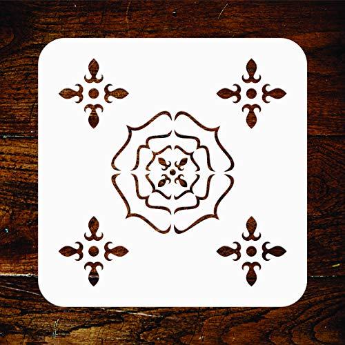 Tudor Rose Schablone - wiederverwendbare klassische Tapete Allover Damast Wand Schablonen Vorlage - Verwendung auf Papierprojekten, Scrapbooks, Wänden, Böden, Stoff, Möbel, Glas, Holz usw. L -