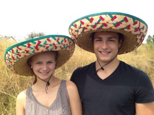 Sombrero-Set Mexikanerhüte in bunten Farben - 2er (Hüte Kostüme Tanz)
