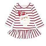 Riou Weihnachten Baby Kleidung Set Kinder Pullover Pyjama Outfits Set Familie Kleinkind Kinder Baby Mädchen Striped Princess Kleid Party Kleider Weihnachten Outfits (90, Weiß)