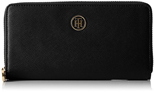 Tommy Hilfiger Damen Honey Large Za Wallet Geldbörse, Schwarz (Black), 2x10x19  cm -