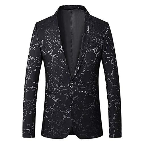 Fenverk Herren Anzug Schwarz Business Slim Fit Smoking Anzugjacke Weste Party Weihnachts KostüM Modisch Baumwollmischung(B Schwarz,XL)