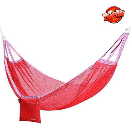 Hamacs balancelles et Accessoires Anti-Renversement extérieur Double Maille Adulte Maison Chaise Suspendue (Color : Red, Size : 190 * 125cm)