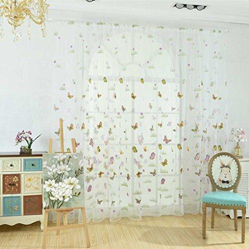 Sunlera Grünes Gras-Schmetterlings-Blumen-Tulle Vorhang Rod-Taschen Durchlässiger Jalousien Wohnzimmer Hotelfenster drapiert (Schiere Stoff Schmetterling)