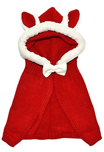 EOZY-Coniglio Mantello con Cappuccio Bambine Bimba Cappello Scialle Maglia Knit Giacca Inverno Natale Rosso