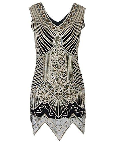 Flapper Ärmeln Mit Kostüm (Babeyond Frauen V Ausschnitt Zwanziger Jahre Flapper Kleid Art Deco Kleid Kostüm für Frauen Aprikose)