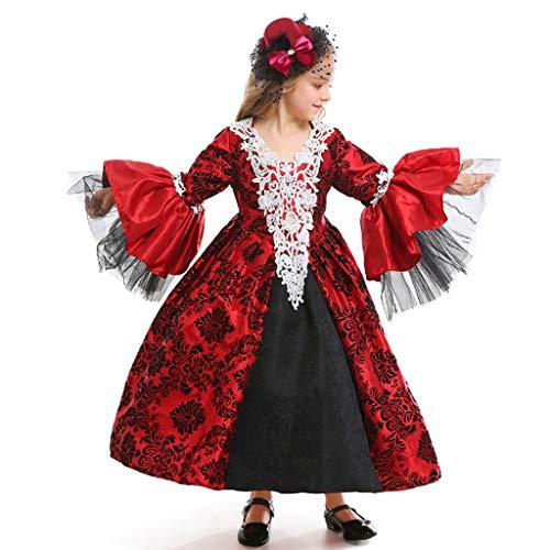 Boy Kostüm Armee - DONGBALA Gothic Wind Girl Vampir Kostüm, Maskerade-Kleid Mittelalterliche Retro Gericht Kleid Vampir Kind Kleid Rock Halloweenkostüm Geeignet Für Höhe 95-145Cm Karnevalsfeier Rot,M