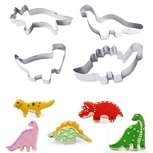 HelpCuisine Premium qualität Ausstecher neu Dinosaurier Ausstecher Set Kuchen Biskuit Form-Set 4 Stück aus rostfreiem Edelstahl leichtes (Dinosaurier) - Dinosaurier-kuchen-form