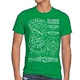 style3 Halcón Milenario Cianotipo Camiseta para hombre T-Shirt fotocalco azul, Talla:M;Color:Verde