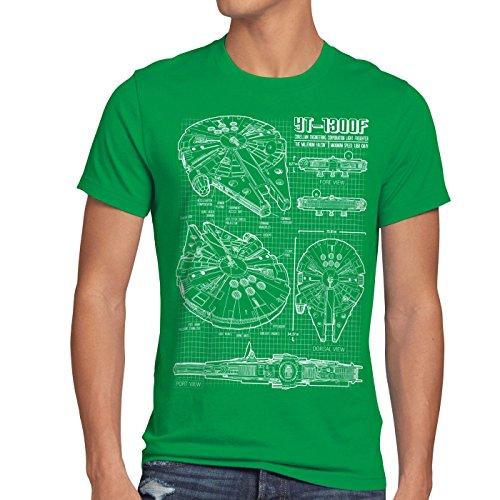 style3 Millennium Falcon Herren T-Shirt blaupause falkon , Größe:XL;Farbe:Grün