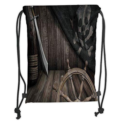 Fashion Printed Drawstring Backpacks Bags,Ships Wheel Decor,Steering Wheel with Old Jolly Roger Flag and Saber in Pirates Ship Control Room Art Print,Brown Soft Satin,5 Liter Capacity,Adjustable S (Room Decor Pirate)