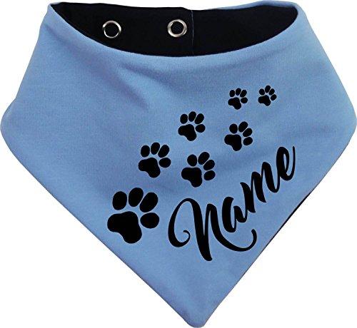 KLEINER FRATZ beidseitiges Multicolor Hundehalstuch Wendehalstuch für Hund/Katze Dog Pet Tuch mit dem Namen Ihres Tieres (Gr.3 - Halsumfang 36-42 cm, hellblau-marine)