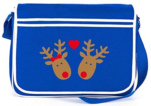 Renna Innamorata, Borsa A Tracolla Messenger Di Inverno Di Natale Retro Borsa A Tracolla Blu Royal