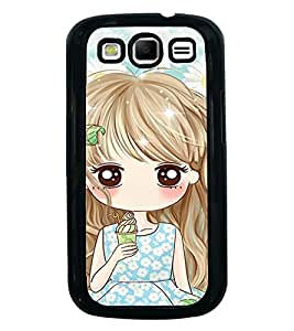 Fuson Premium 2D Back Case Cover Cute girl With yellow Background Degined For Samsung Galaxy S3 Neo::Samsung Galaxy S3 Neo i9300i