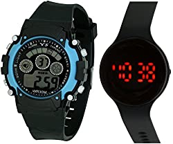 Pappi Boss Sports Watch Collections - BRANDED ORIGINAL - Digital Black-Blue Dial Sports Watch & Unisex Silicone ROUND Black Led Digital Watch for Boys, Girls & Kids