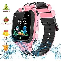 Vannico Montre GPS Enfant,Montre Enfants Garçon LBS Tracker, SOS, IP67 Étanche Telephone Montre Connectée Enfant Fille Garçon Smartwatch Cadeau Enfant (Rose Clair)
