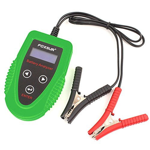 FOXSUR Appareil de contrôle de batterie de voiture de Digital 12V, démarreur et appareil de contrôle de système de charge et analyseur de vie de batterie, IR, tension, résistance et valeur de CCA pour inondé, gel, AGM, batterie de cycle profond