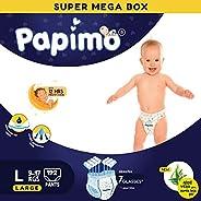 Papimo Baby Diaper Pants with Aloe-Vera & Super Lock Gel - 192 Count, L
