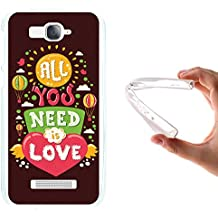 WoowCase Funda Alcatel One Touch Pop C7, [Alcatel One Touch Pop C7 ] Funda Silicona Gel Flexible Frase con Corazón - All You Need is Love, Carcasa Case TPU Silicona - Transparente