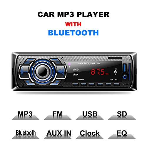 Lling(TM) - Receptor de radio para coche, estéreo, función FM, reproductor MP3, con Bluetooth, USB, SD, AUX, MMC, Single DIN, para el salpicadero del coche, incluye mando a distancia