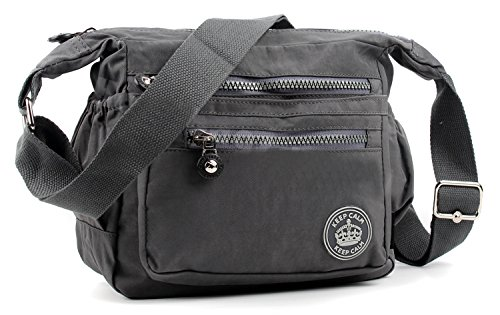 Aossta Womens Multi Zip Pockets Fabric Lightweight Cross Body Bag Shoulder Bag Messenger Bag (Dark Grey)