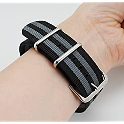 MetaStrap 22mm Nylon Strap Nato Watch Band with Black&Grey Striped Style