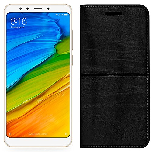 (Buy 1 Get 1 Tempered Glass Free) Roxel Redmi 5 Rich Boss Leather Flip Cover with [ Stand View & Card Holder Option ] Leather Flip Cover for Redmi 5 (Black, 32 GB) (3 GB RAM) - Texture Black