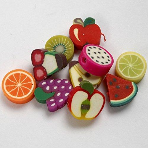 Creative NEU Motiv Tonperlen, D: 10 mm, 200 sort. Früchte