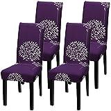 YISUN Universal Stretch Stuhlhussen 4er 6er Set Stuhlbezug für Stuhl Esszimmer Lila