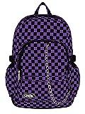 Checker Noir & Violet Sac Sac à dos Sac à dos de skateboard avec protection pour ordinateur portable | école Collège Voyage Travail | Carreaux Rock Emo gothique Skate | Casque Moto Intégral CHOK