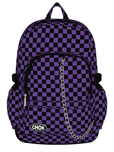 CHECKER BLACK & PURPLE BACKPACK RUCKSACK SKATEBOARD BAG with LAPTOP PROTECTION | School College Travel Work | Check Goth Rock Emo Skate | CHOK