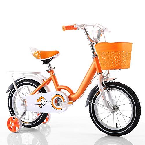 YUMEIGE Kinderfahrräder Kinderfahrräder mit Rücksitz Höhenverstellbarer Kinderfahrradsitz mit Stützrad 12 14 16 18 Zoll Geeignet für 3-9 Kinder im Alter von Geschenken (Color : Orange, Size : 14in)