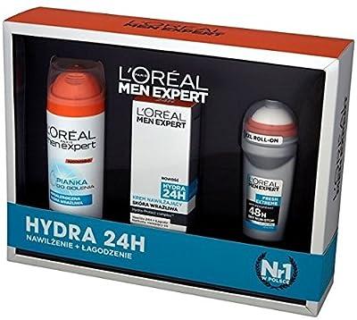 LOreal Men Expert 3PC Gift Set - Hydra 24 (Moisturiser, Shaving Gel, Roll On) by L'Oréal