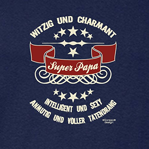 Fun-T-Shirt für Vater als tolle Geschenke-Idee Motiv: Super - Papa Farbe: navy-blau Navy-Blau